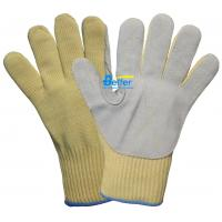 Quality 10 Guage Aramid Fiber Knitted Shell With Cow Split Leather Sewed Anti Cut Work Gloves wholesale