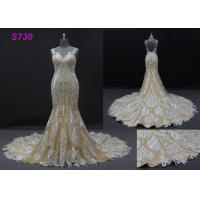 Quality Champange color sleeveless sheath mermaid wedding dress bridal gown wholesale