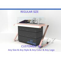 Cheap Elegant Comfortable Black Rose Gold Wood Glass Sit Down Jewelry Case With Lights for sale