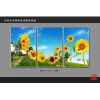 Quality Heat Resistant Faux Tile Wall Panelsembossed Triptych Art Painting Sunflower wholesale