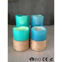 Quality Multi Colored Led Pillar Candles With Hemp Rope Home Decoration wholesale