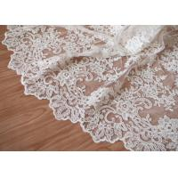 Quality Retro Embroidery Ivory Bridal Lace Fabric / Stretch Tulle Fabric For Wedding Dresses wholesale