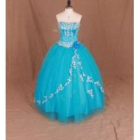 Quality China Prom Dress / Blue Elegant Strapless Ball Gown Prom Dress wholesale