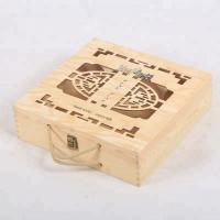 Quality Vintage Finish Rustic Brown Wood Beer Bottle Storage Box Crate with Carrying Handles wholesale