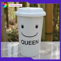 China Portable Travel Mug Ceramic Coffee Cup Without Handle Smiling Face Pattern on sale