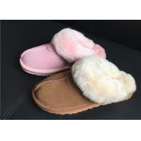Quality 100% Sheepskin Slippers Ladies Shoes Chestnut EVA Soft Sole Suede Leather Slipper wholesale