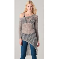Quality Long Asymmetrical Sheer See Through Womens Knitted Sweaters With Long Sleeve wholesale