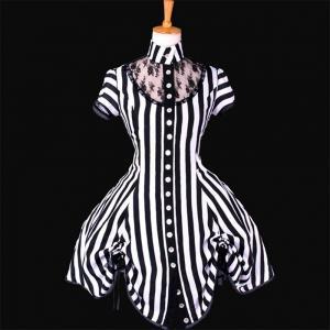 Quality Medieval Dress Wholesale XXS to XXXL Custom Made Black and White Stripe Ball Gown Medieval Victorian Dress wholesale