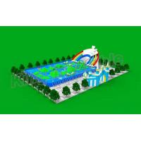 China Durable PVC Blue Commercial Inflatable Water Slides With Pool EN71 on sale
