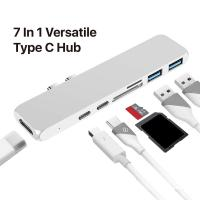 China USB C Hub 7 in 1 Adapter,Dual Type C Docking Station to 40Gbps Thunderbolt 3,Dual USB 3.0 4K 30Hz HDMI SD&TF Card reader on sale