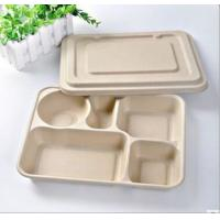 Buy cheap Biodegradable Straw pulp 5 compartments food container paper food trays product