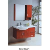 Cheap Cherry color Solid Wood Bathroom Cabinet with mirror 0.4CBM Volume 900 * 480MM for sale