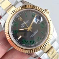 Quality Wholesale 2016 Rolex 116334 DateJust II Two Tone YG 41mm Automatic 3136 Grey Dial Green Roma Marks Fluted Bezel Watch wholesale
