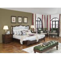 Quality American Western design style Villa Bedroom furniture Fabric Headboard Screen Wood Bed with Leather Bench and  Armchair wholesale