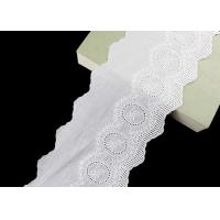 Quality 14CM Width Cotton Lace Trim Edging With Floral Pattern Scalloped Via OEKO TEX wholesale