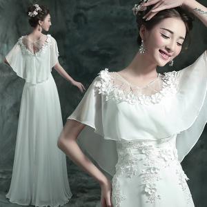 China White Chiffon Lotus Leaf Neck Elegant Evening Dresses TSJY038 on sale