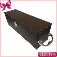 Quality Luxury Shiny Handle Brown PU Faux Genuie Leather Wine Box for Red Wine Alcohol Beverage wholesale
