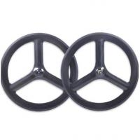 China Custom Made 700c Carbon Track Bike Wheels Front Rear New Basalt Surface Clincher 23 Width on sale
