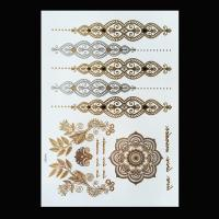 Quality Black Color Metallic Tattoo Stickers , Shimmer Metallic Jewelry Tattoos wholesale