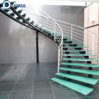 China Interior Stainless Steel Glass Tread Round Curved Stairs for house on sale