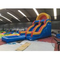 China Professional Fireproof Double Water Slide With Splash Pool 3 Years Warrenty on sale