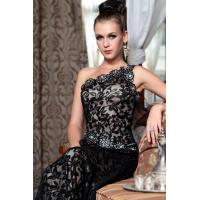 Quality Sell long black Evening dresses fashion wedding lace flower bride bridesmaid one shoulder wholesale
