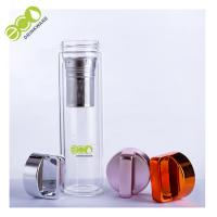 China Large Double Wall Glass Water Bottle with Tea Filter and Colorful Handle Lid on sale