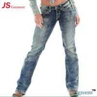 Quality Low Waist Washed Printed Jeans For Womens Elastic Straight Dark Blue Jeans Womens wholesale