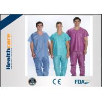 Quality Soft Nonwoven Disposable Scrub Suits With ISO13485 Surgical Nurse Coat Pink Dark Green wholesale
