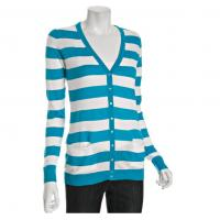 Quality Aqua / White Winter Striped Cardigan Womens Knitted Sweaters With V Neck wholesale