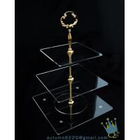 Quality CD (38) golden stick 3 tiers cake stand wholesale