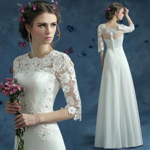China White Short Sleeves Boat Shoulder Neck Lace Elegant Evening Dresses TSJY072 on sale