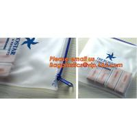 Quality Transparent pvc slider zip bag with blue side gusset, pvc zipper lock slider bag, Zipper slider clear pvc bag for ruler wholesale