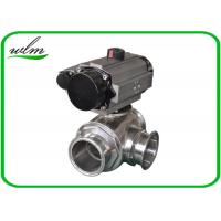 Quality Clamped Sanitary 3 Way Ball Valve / Stainless Steel Pneumatic Ball Valves wholesale