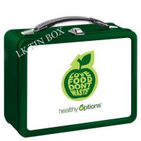 Quality Food Storage Apple Printed Lunch Tin Box With Plastic Handle / Metal Lock wholesale