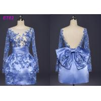 Quality Blue Color See Through Short Long Sleeve Evening Dresses With Bowknot wholesale
