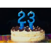 Quality Pure Blue Color Mini Number Birthday Candles With Spiral Candle Holder wholesale
