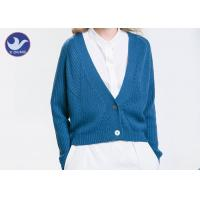 Quality Acrylic Wool Womens Knit Cardigan Sweaters , Blue Long Sleeve Cardigan Sweater wholesale