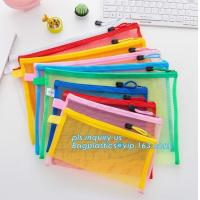 Quality Office Stationery Mesh Bags With Slider Zipper, expanding file/folder/File cover/documents pouch carry bag wholesale