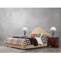 Cheap American leisure style Split Leather Upholstered Headboard Kind Bed with Wooden Furniture for Villa house Bedroom used for sale