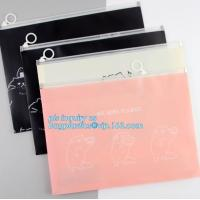Quality towel slider cosmetic bag, Slider Zip Poly Bag, office file bag with zipper/document file pockect, clear pvc zipper bag/ wholesale
