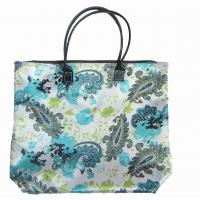 Quality Large printable satin fabric foldable shopping bags for women with flower pattern wholesale