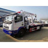 Quality Dongfeng 5tons winch hydraulic mounted crane 3.2 ton slide tray body china rollback wrecker beds truck for sale wholesale
