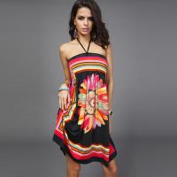 China Women's  Summer Hot Sale Ethnic Style Printed Sling Wrapped Chest Halter Short Dress on sale