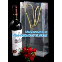 China Handle Wine Bottle Paper Bags With Two Side Logo,transparent wine gift pp bag, plastic bag with handles bagplastics pac on sale