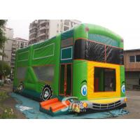 China Commercial grade giant bus inflatable bouncer with slide N pillars inside for kids fun entertainments on sale