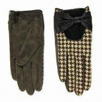 Quality Leather Gloves with Check Fleece wholesale