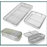 Cheap Medical Grade Stainless Steel Mesh Tray With Drop Handles For Washing Or for sale
