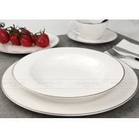 Quality White Gold Line Ceramic Dinnerware Sets Gift Box Packing BSCI Certification wholesale
