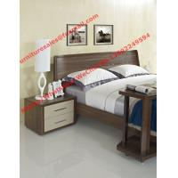 Cheap Walnut wood home bedroom furniture sets by curved headboard bed and full mirror for sale